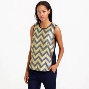 J. Crew Gilded Chevron Gold and Navy Tank Size 10